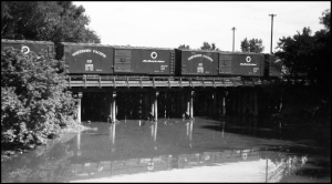 Rail cars on the second street bridge, just downstream from the Pink House. Thanks to the R.V. Nixon photo collection.