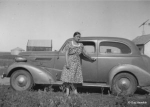 Fanny with the 1937 Chevy they probably drove to Nebraska