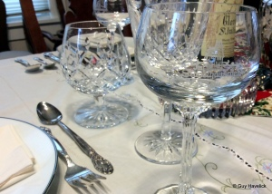 The Stapelhäuschen glasses, set for Christmas dinner.