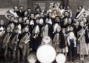 Lucy's in the back row with the Tuba. Gardner High School, 1936.