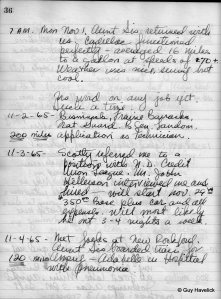 Sample of Jim's diary from 1965