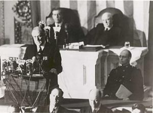FDR delivers the declaration of war request to congress.