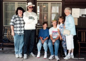 Judy, Guy, Mara, Lon, Mara's friend Abby, and Lucy. Early 1990s