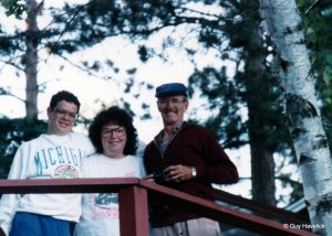 Lon, Judy and Jim at the cabin in the early 1990s.