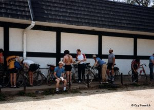 Riders at the end of a TTT, preparing for the long drive home.
