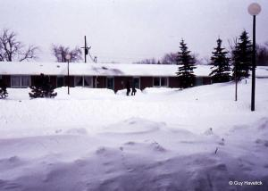 NDSU Bison Court after a major blizzard