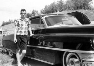 Guy with the 1952 Cadillac in 1965. Probably at Lake Metigoshe.