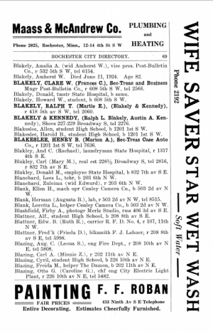 Rochester MN 1925 City Directory