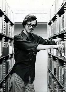 Linn working at the library in 1972