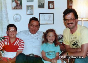 Lon, Louie, Mara and Guy at Louie's apartment c. 1988