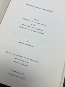1973 Masters Thesis