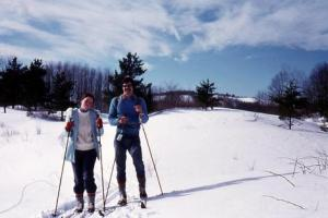 Judy and Guy on cross-country skis.