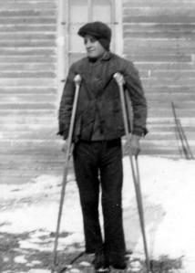 Henry on crutches – after a 1936 snowstorm.